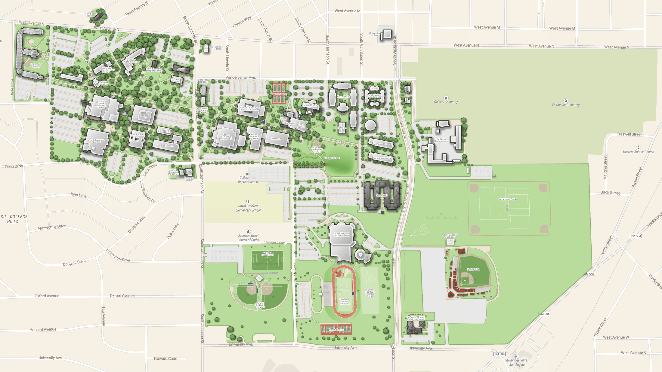 Custom made campus plan on the Street map as a background