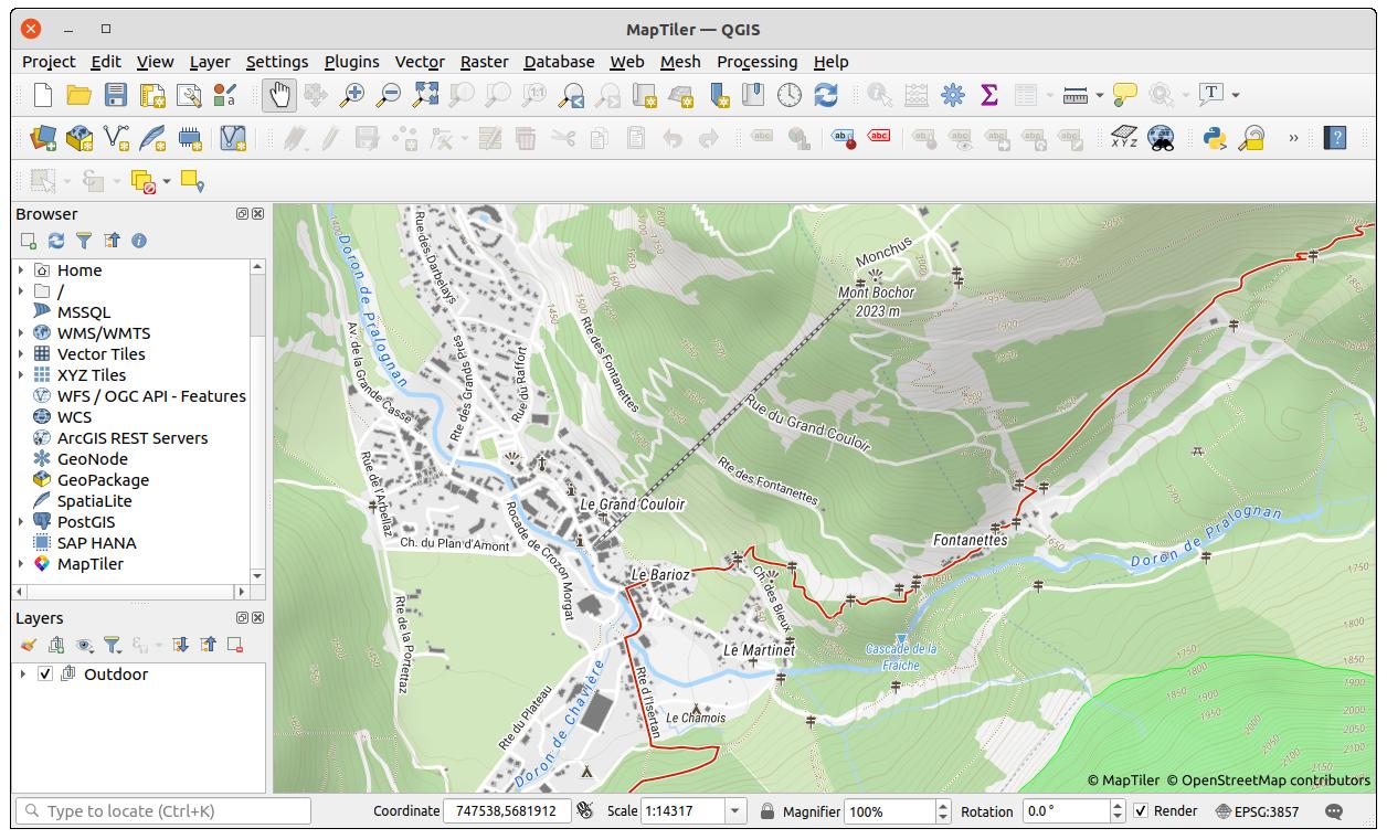 MapTiler Outdoor in QGIS